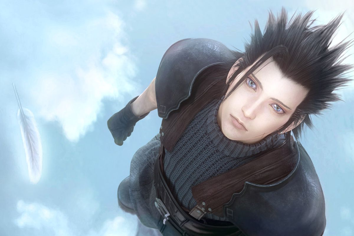 Zack Fair, surrounded by clouds in the sky, looking at a single white feather