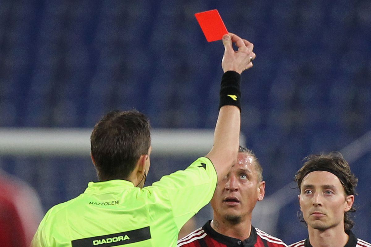 Philippe Mexes red carded for choking Stefano Mauri