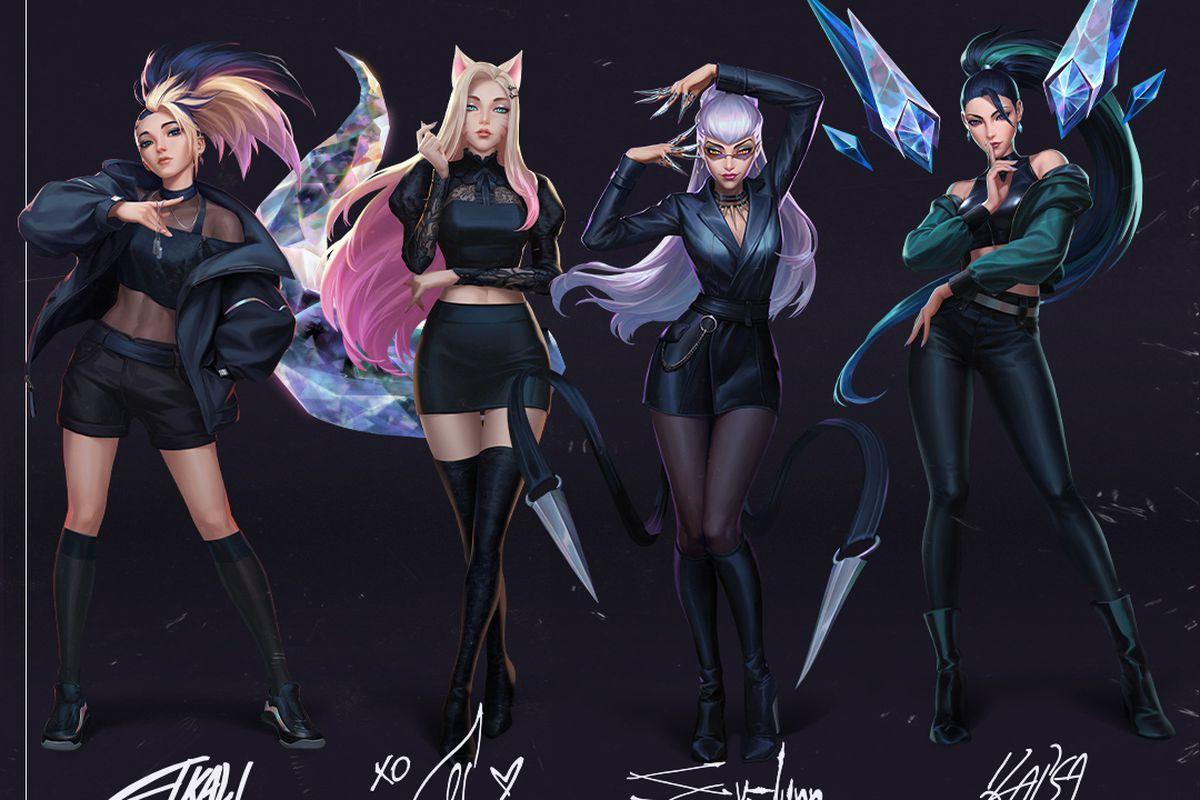 Four women in dark clothing pose like K-pop idols