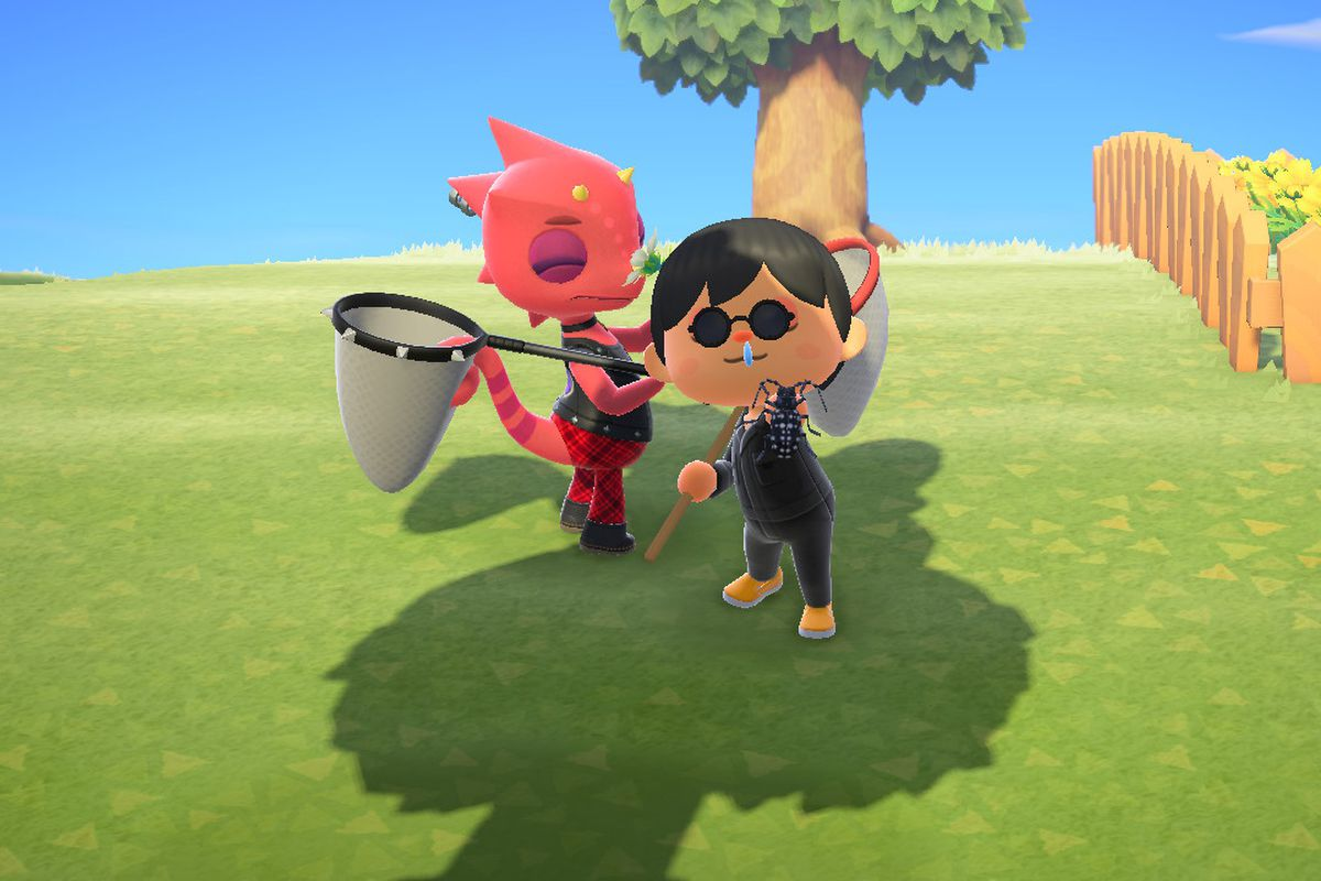 Flick, the red, punk rock Lizard hanging out with a villager in Animal Crossing: New Horizons.