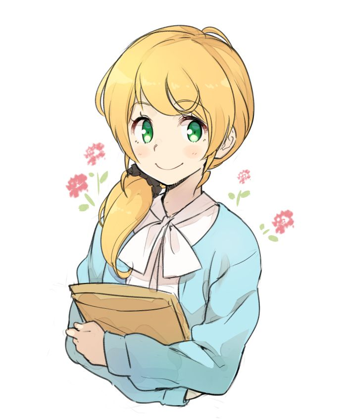 Miss Ellen Baker smiles at the viewer surrounded by pink flowers.