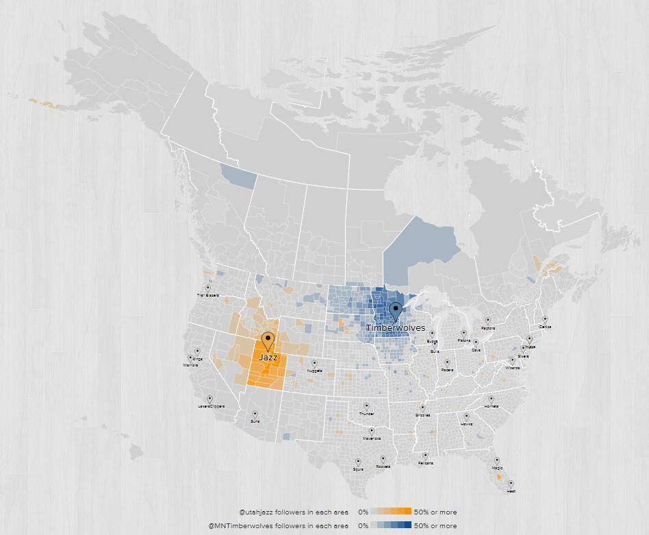 2015 2016 Fanbase Map Minnesota Utah
