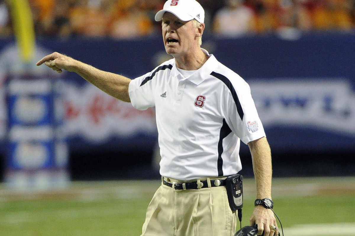 North Carolina State head coach Tom O'Brien reacts on the sidelines as his teams plays Tennessee in Chick-fil-A Kickoff Game, beginning the NCAA college football season, in Atlanta., on Friday, Aug. 31, 2012.