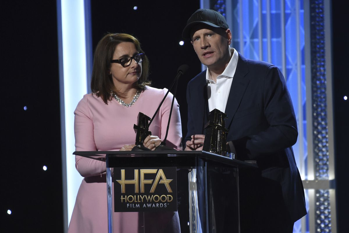 """Victoria Alonso, left, and Kevin Feige accept the Hollywood blockbuster award for """"Avengers: Endgame"""" at the 23rd annual Hollywood Film Awards on Sunday, Nov. 3, 2019, at the Beverly Hilton Hotel in Beverly Hills, Calif."""