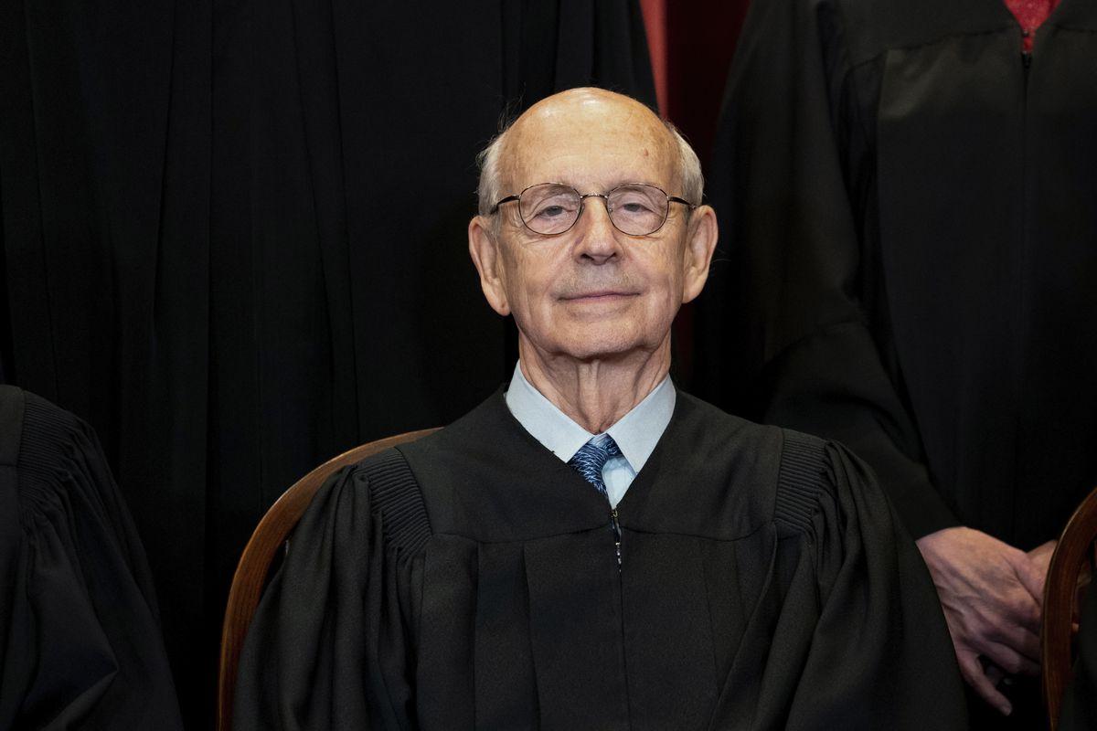 Supreme Court Associate Justice Stephen Breyer sits at the Supreme Court in Washington.