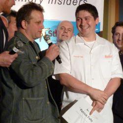 Paul Kahan presenting the award to Patrick Fahy of Blackbird.