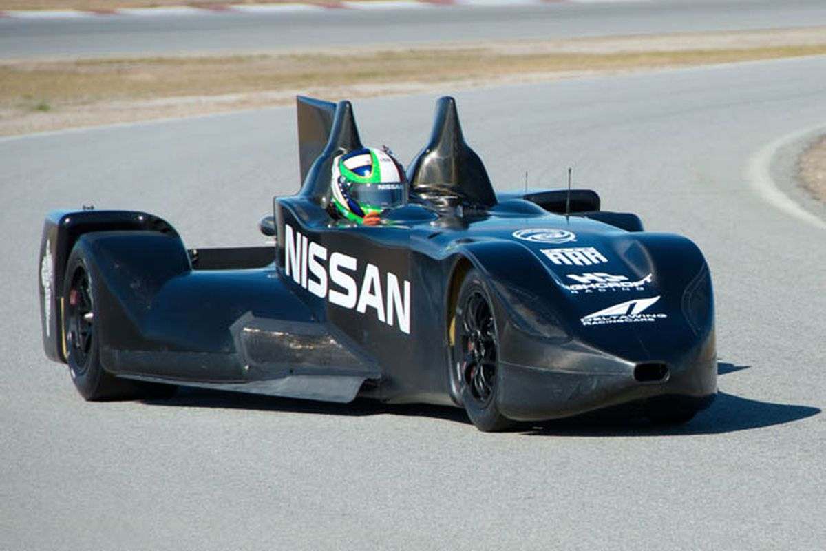 Marino Franchitti test-drives the new Nissan-powered Delta Wing Le Mans prototype. The revolutionary car, designed by Ben Bowlby, began its life as a concept for the 2012 IndyCar. (Photo: Nissan)