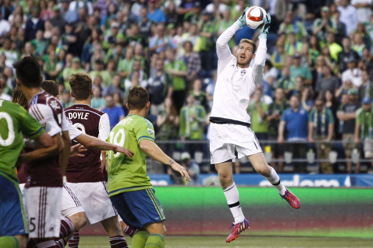 Clint Irwin collects a cross from the Seattle Sounders.