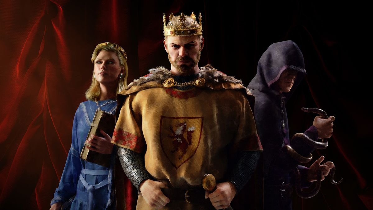 Key art for Crusader Kings 3 shows a king, dressed for war. Flanking him is his faithful magistrate and his spymaster. The later is hooded, and holds a poisonous snake.