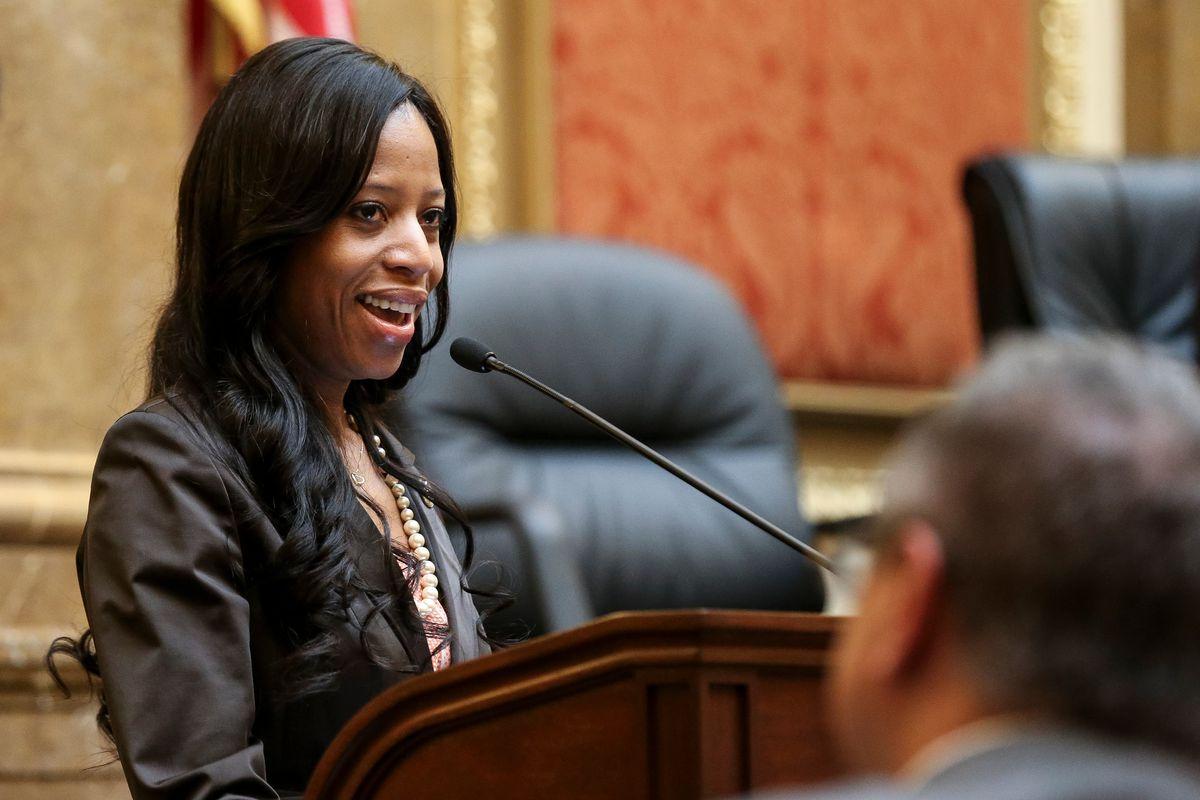 Former Rep. Mia Love, R-Utah, speaks on the floor of the Utah House of Representatives.