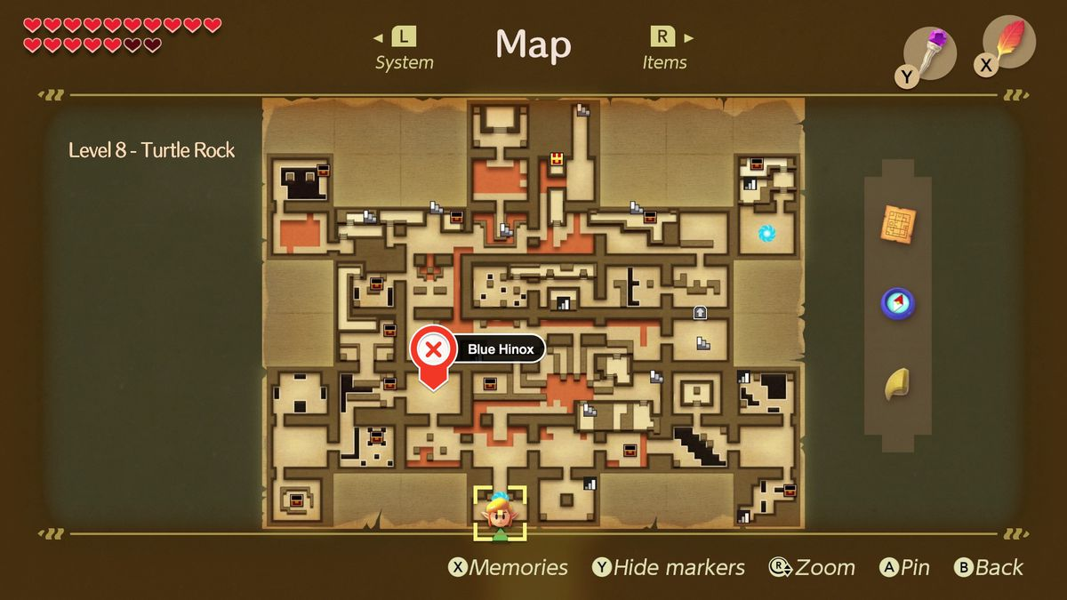 Link's Awakening Turtle Rock Blue Hinox mini-boss fight location