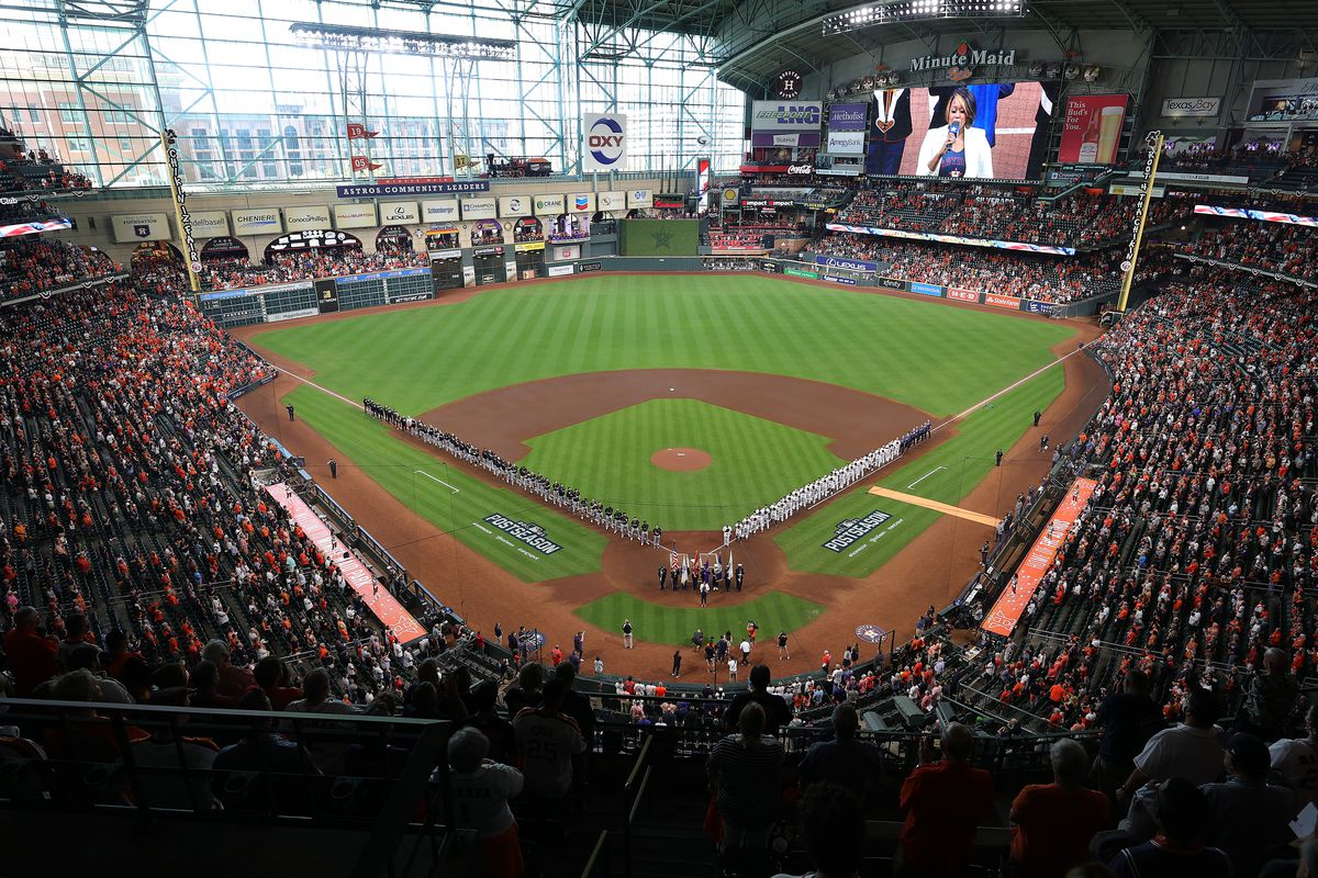 A general view as players are introduced prior to Game 1 of the American League Division Series between the Houston Astros and the Chicago White Sox at Minute Maid Park on October 07, 2021 in Houston, Texas.