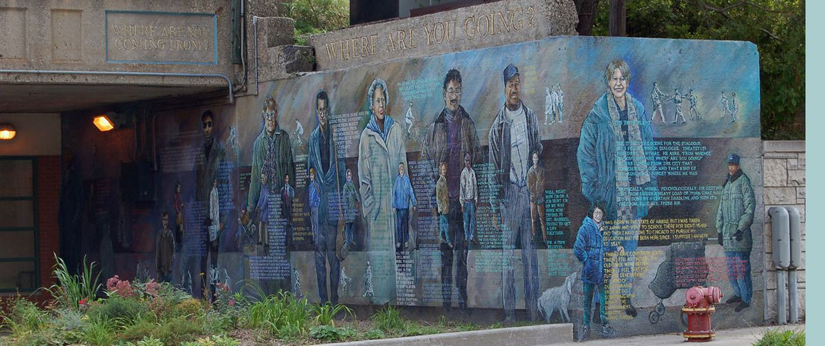 """Olivia Gude's mural """"Where We Come From, Where We're Going"""" in Hyde Park features quotations from people who passed by as she was creating it."""
