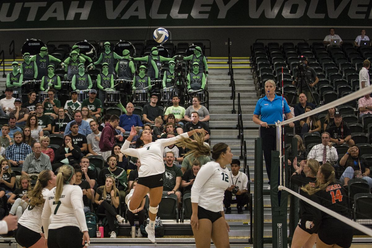 Utah Valley freshman outside hitter Kazna Tarawhiti (center) rises for an attack on Tuesday against Idaho State at UVU's Lockhart Arena. Tarawhiti finished with a match-high 19 kills and her first collegiate double-double as she added 10 digs.