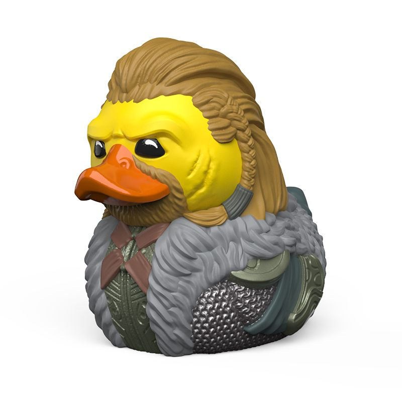 Closeup of a rubber duck toy based on the character Ulfric Stormcloak from The Elder Scrolls 5: Skyrim