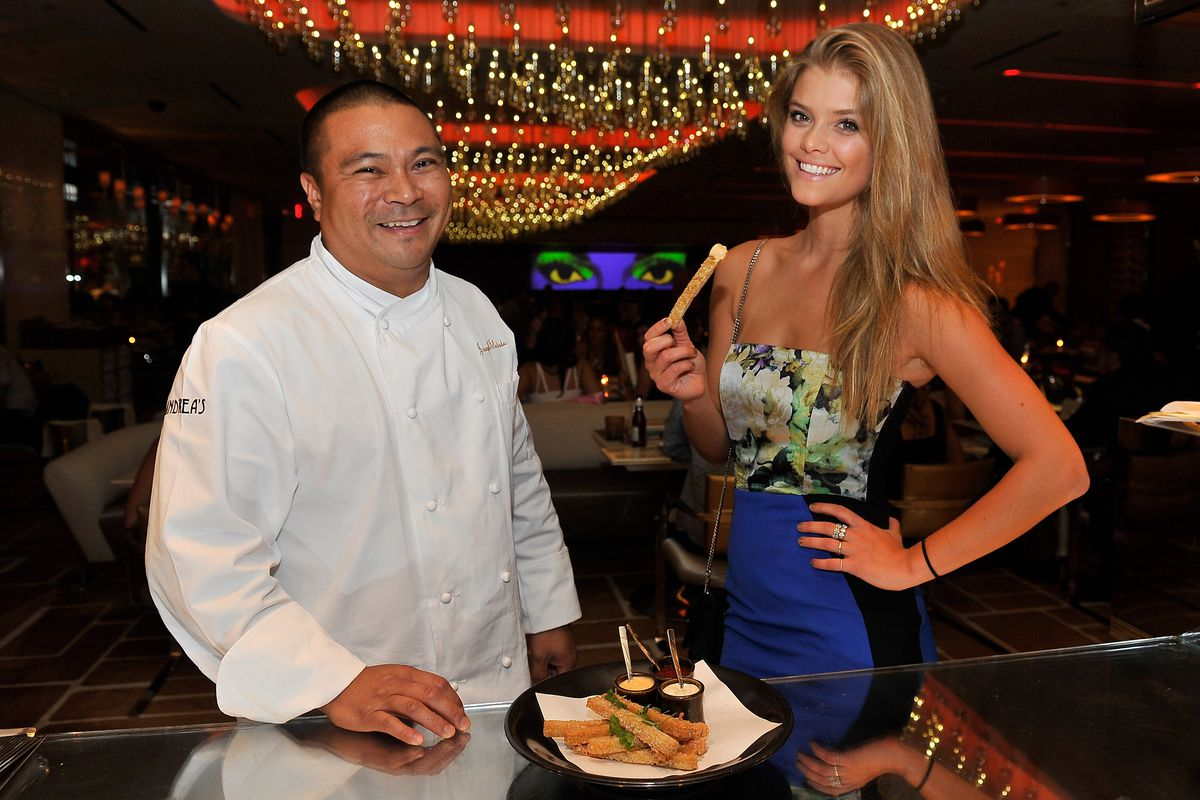 Joseph Elevado and Nina Agdal with ramen fries