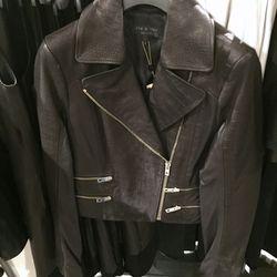 Black Vespa leather jacket, $495