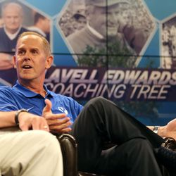 BYU athletic director Tom Holmoe talks about working with LaVell Edwards during BYU Football Media Day at BYU Broadcasting in Provo on Friday, June 23, 2017.