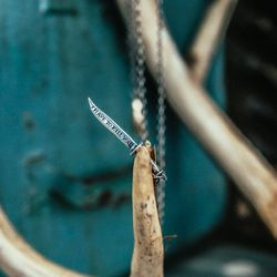 """The <a href=""""https://www.digbyandiona.com/code-of-the-sea-necklace"""">Code of Sea Necklace</a> in oxidized sterling silver ($150)"""