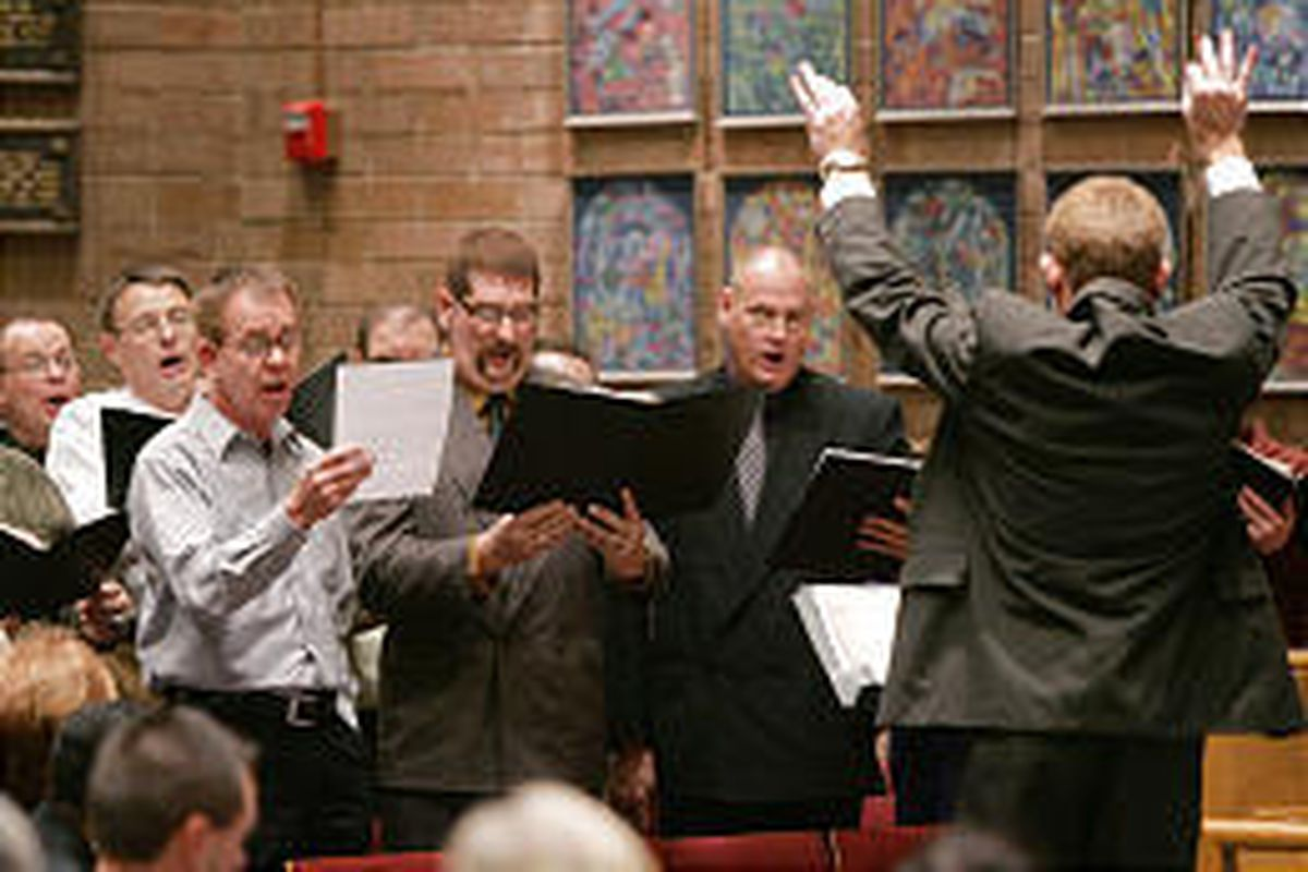 """The opening number, """"For the Beauty of the Earth,"""" is sung by a choir during an Interfaith Community Thanksgiving Service at Congregation Kol Ami."""