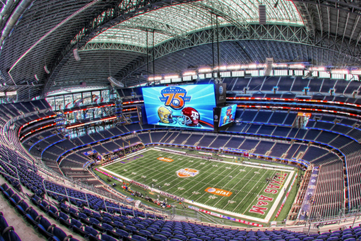 The Cotton Bowl at the New Dallas Cowboy Stadium figures to be included in the top six bowls picked to host the new 4-team college playoff games beginning in 2014. (<em>photo, Cotton Bowl</em>)