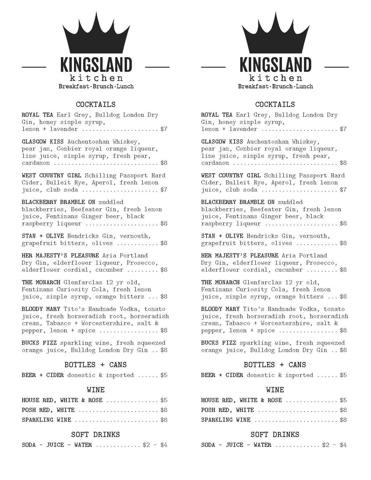 Kingsland Kitchen Finally Reveals Menus Of Inspired