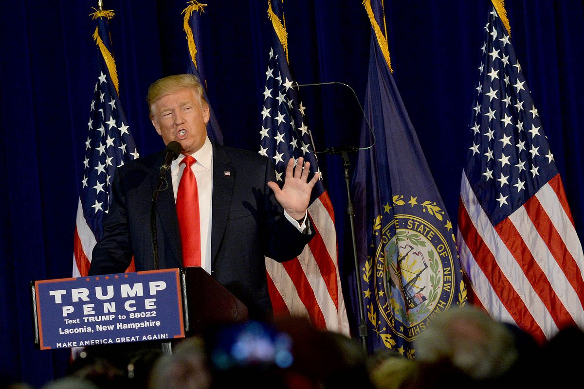 GOP Presidential Candidate Donald Trump Campaigns In Laconia, New Hampshire