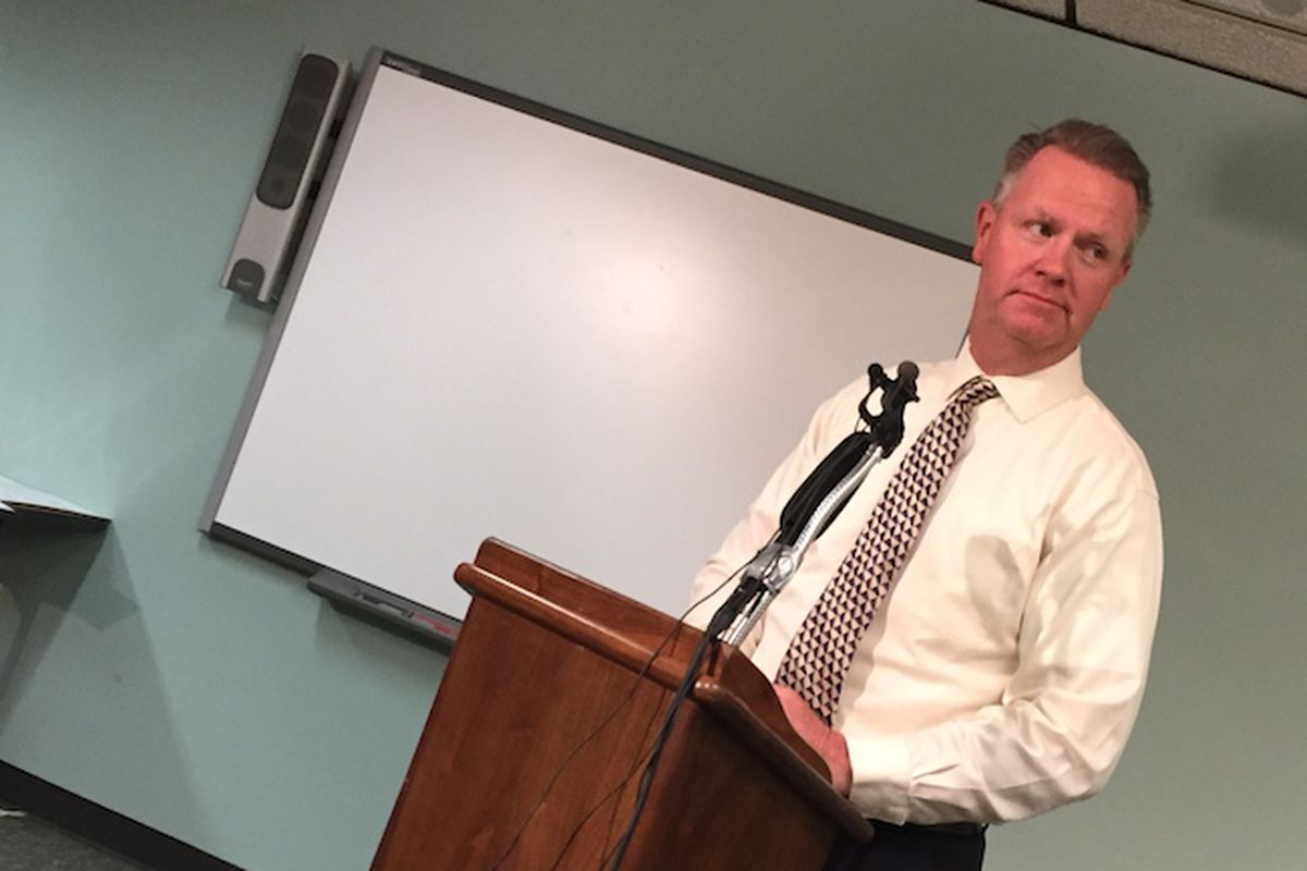 Jeffco Superintendent Dan McMinimee spoke to reporters Sept. 29 after more than half of the the teachers at two high schools called in sick or used a personal day. Classes were canceled at those schools.
