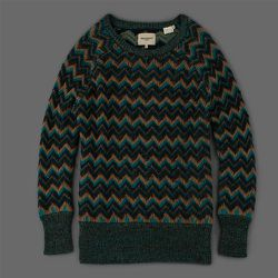 """<strong>Levi's Made & Crafted</strong> Momo Crew Sweater in Mountain Gold and Black, <a href=""""http://www.millmercantile.com/Levi_s_Made_&_Crafted_Momo_Crew_Sweater_in_Mountain_Gold_and_Black_14629.html"""">$240</a> at Mill Mercantile"""