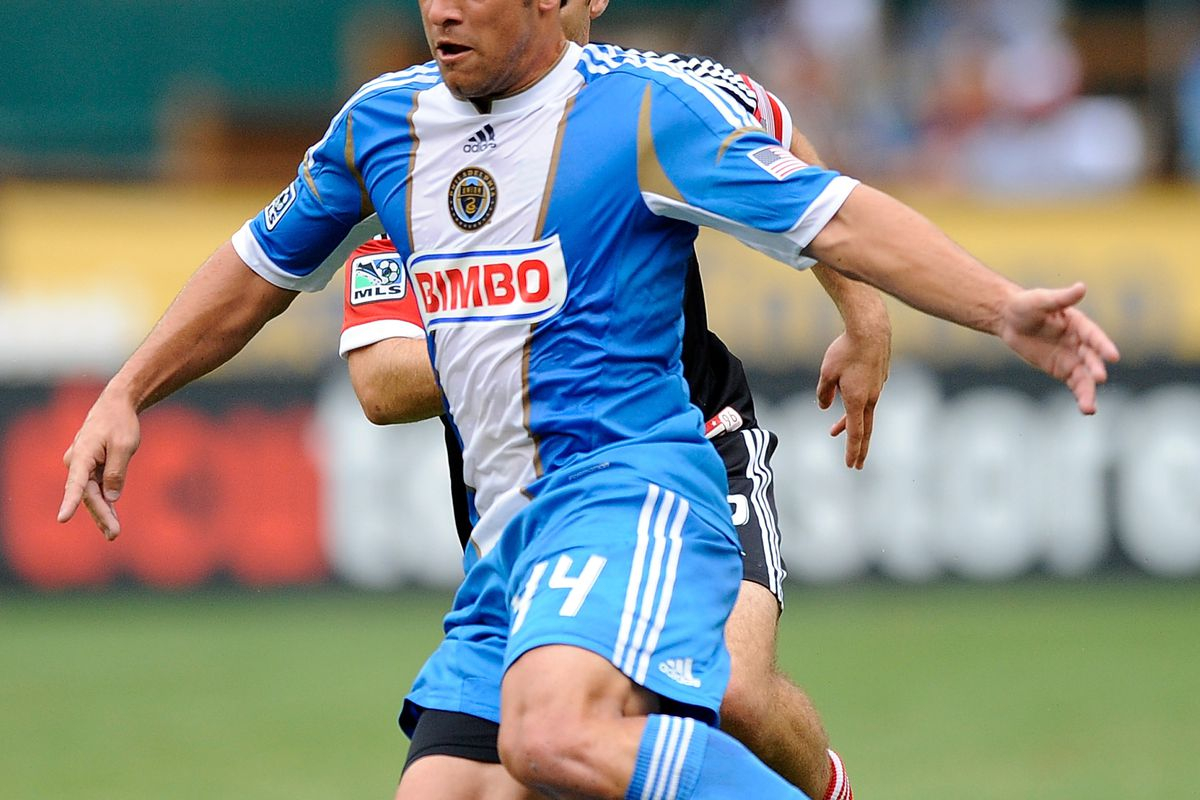 WASHINGTON, DC - AUGUST 19:  Danny Cruz #44 of Philadelphia Union brings the ball up the field against DC United during a game at RFK Stadium on August 19, 2012 in Washington, DC.  (Photo by Patrick McDermott/Getty Images)
