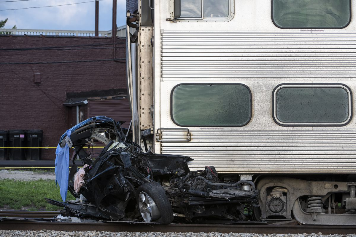 Just after 5 p.m., an inbound train struck a vehicle at the railroad crossing of 107th Street and Vincennes Avenue, Chicago fire officials said. The Rock Island train pushed the car about a half mile before coming to a complete stop near 103rd Street and Vincennes Avenue.