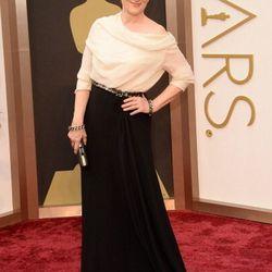 Meryl Streep in black and white.
