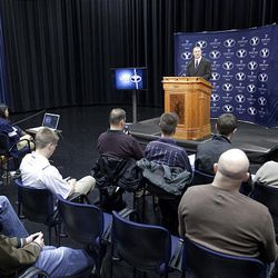 12FTB Signing Day 154.CR2  12FTB Signing Day  February 1, 2012  BYU Head Football Coach Bronco Mendenhall speaks at a Press Conference held in the BYU Broadcast Building during National Signing Day.  Photo by Jaren Wilkey/BYU  ? BYU PHOTO 2012 All Rights Reserved photo@byu.edu  (801)422-7322