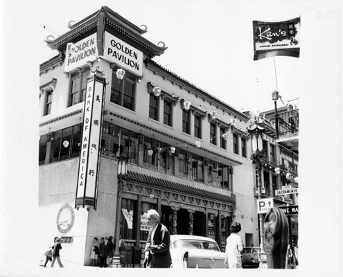 Chinatown branch of Bank of America at 701 Grant, 1964.