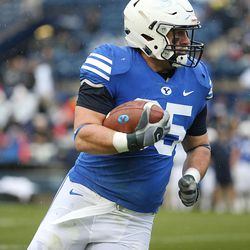 BYU's Brayden El-Bakri runs during the Blue-White game at LaVell Edwards Stadium in Provo on Saturday, April 7, 2018.