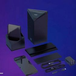 <em>Its accessories appear to include a wireless charging stand along with a more typical array of charging cables.</em>