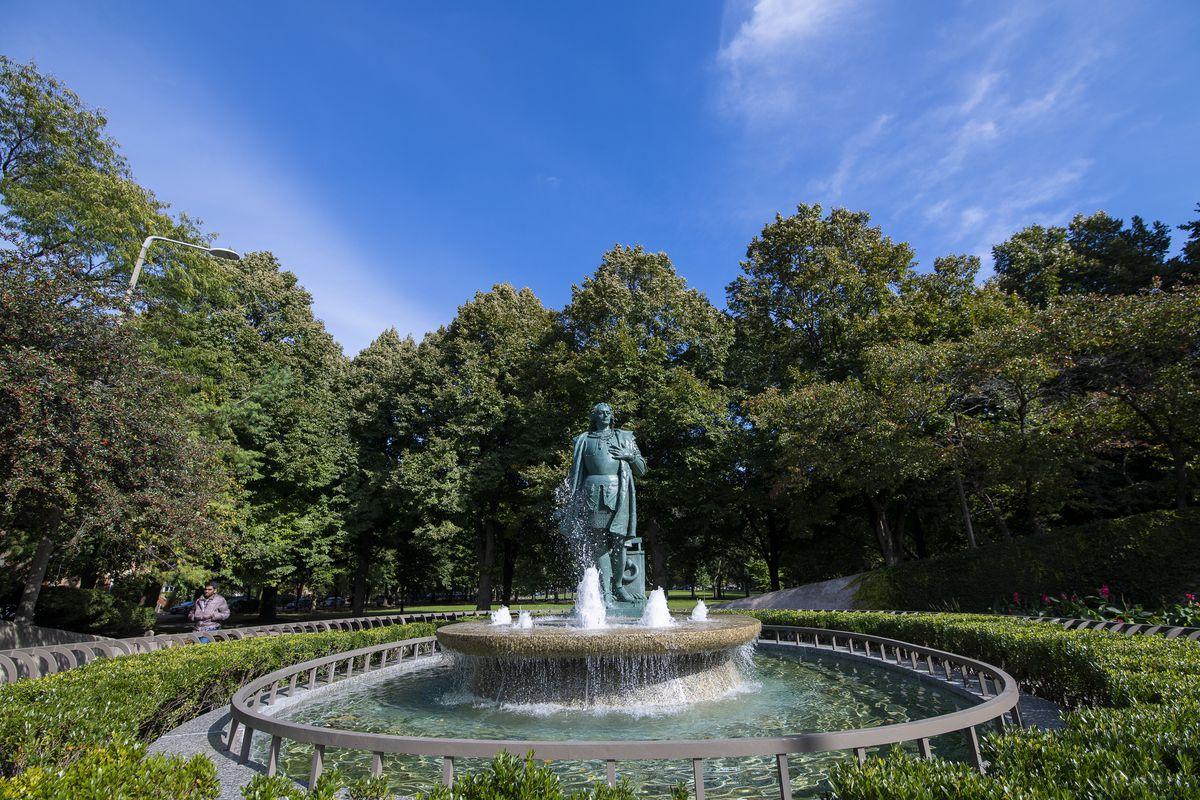 Christopher Columbus Monument at Arrigo Park in Little Italy. | Tyler LaRiviere/Sun-Times