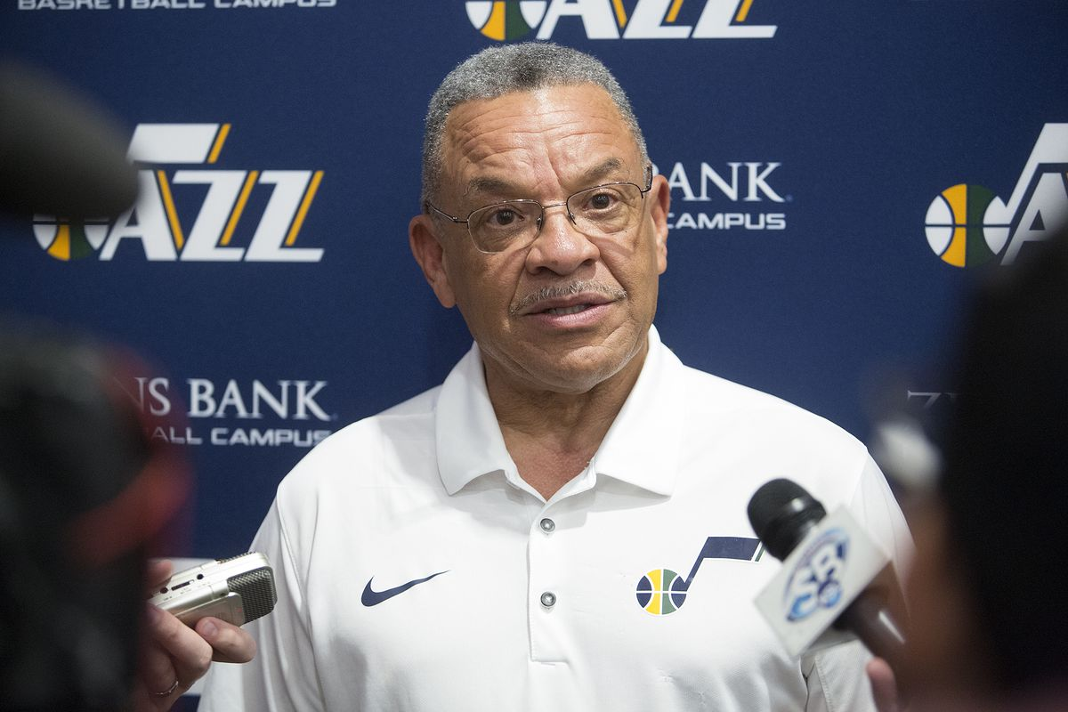 Jazz Vice President of Player Personnel Walt Perrin talks to reporters during a six-person workout at Zions Bank Basketball Center in Salt Lake City on Monday, June 4, 2018.