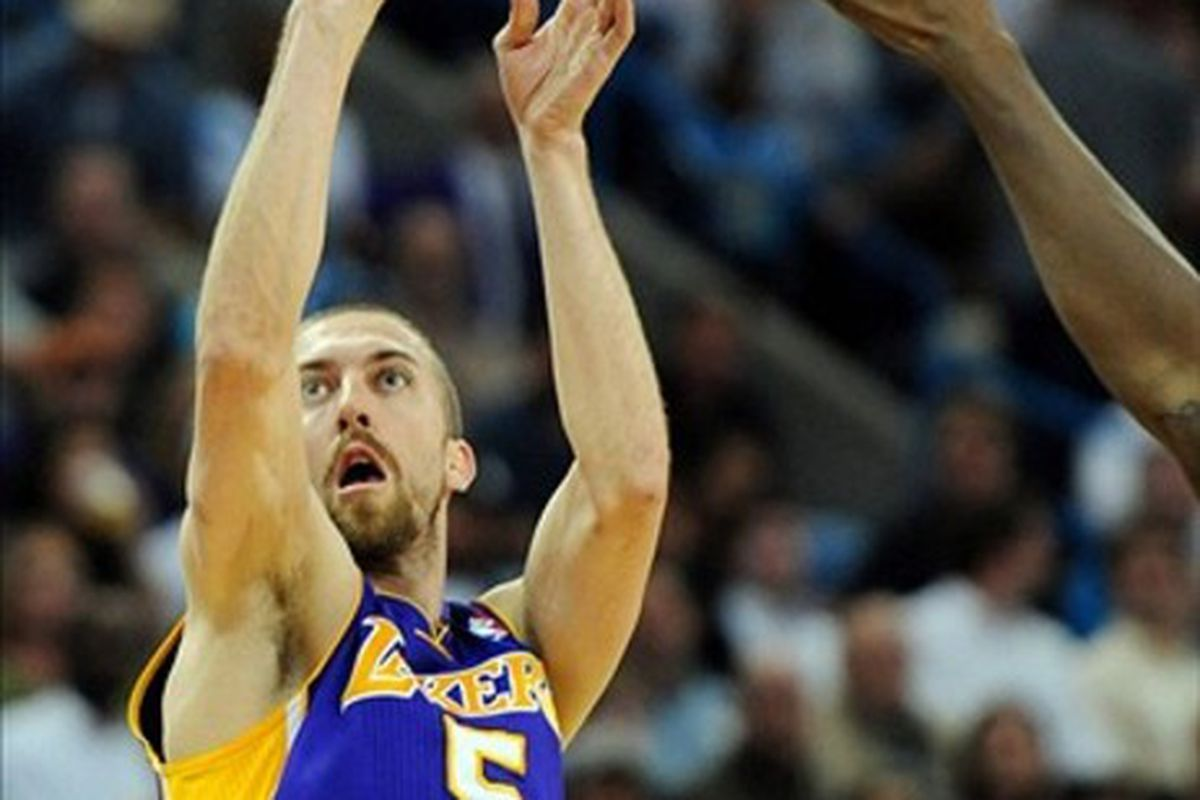 Steve Blake learns that he's the only point guard on the Lakers' roster for tonight's game against the Minnesota Timberwolves.