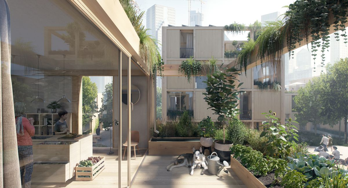 Rendering of apartment and terrace