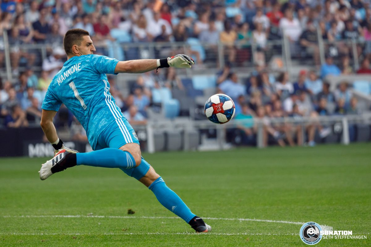 July 13, 2019 - Saint Paul, Minnesota, United States - Minnesota United goalkeeper Vito Mannone (1) punts the ball during the match against FC Dallas at Allianz Field.