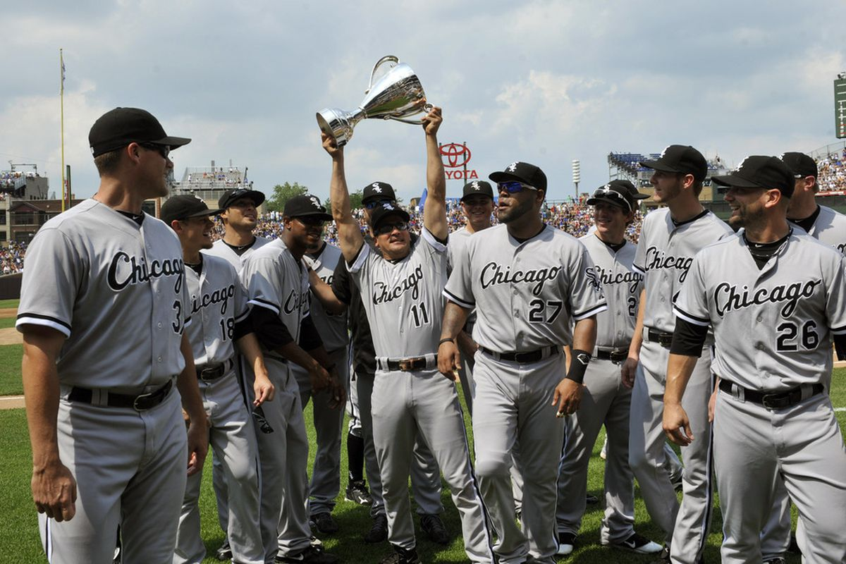 CHICAGO, IL - JULY 02: Omar Vizquel #11 of the Chicago White Sox holds the BP Cup as the White Sox retain the cup against the Chicago Cubs on July 2, 2011 at Wrigley Field in Chicago, Illinois.  (Photo by David Banks/Getty Images)