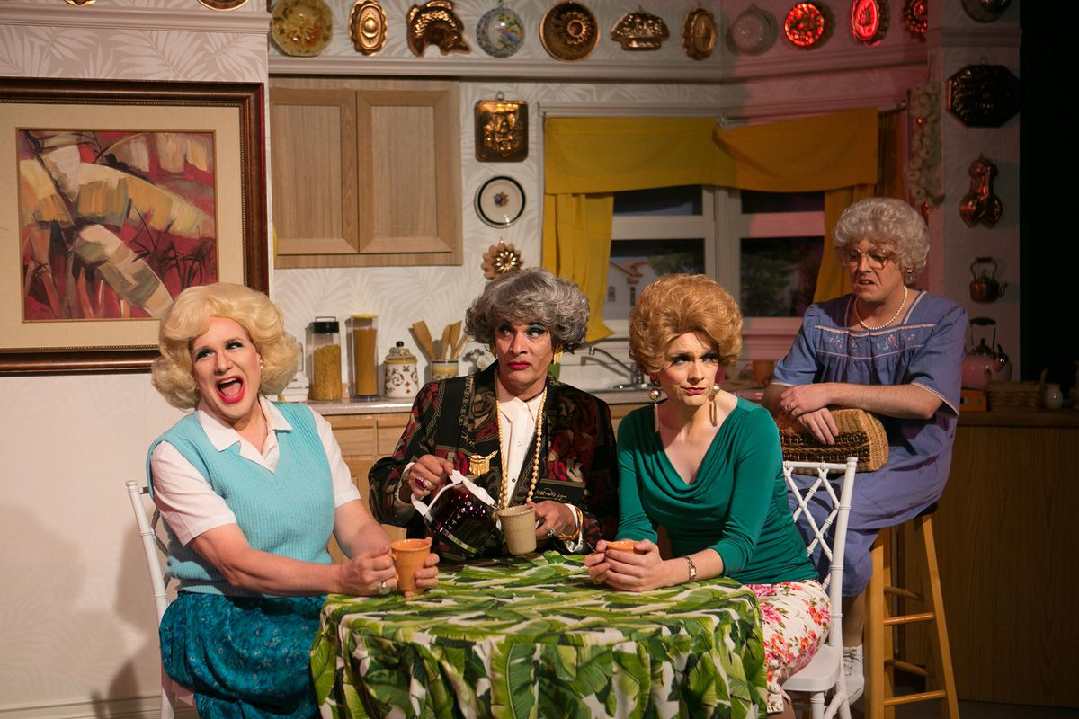 Ed Jones,David Cerda,Grant DragerandRyan OatesinHell in a Handbag Productions'The Golden Girls: The Lost Episodes, Vol. 5 – SEX!Photo by Rick Aguilar Studios.