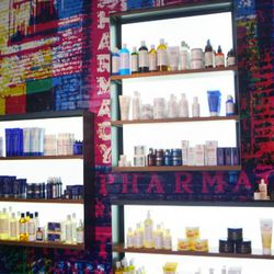 When you walk into the concierge area, you're greeted by a wall of merchandise in very un-spa-like colors.