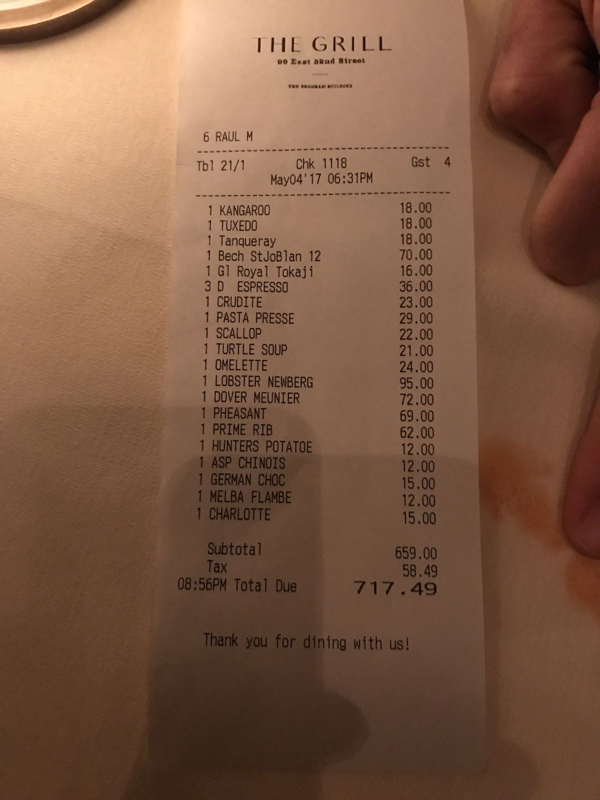 The Grill receipt
