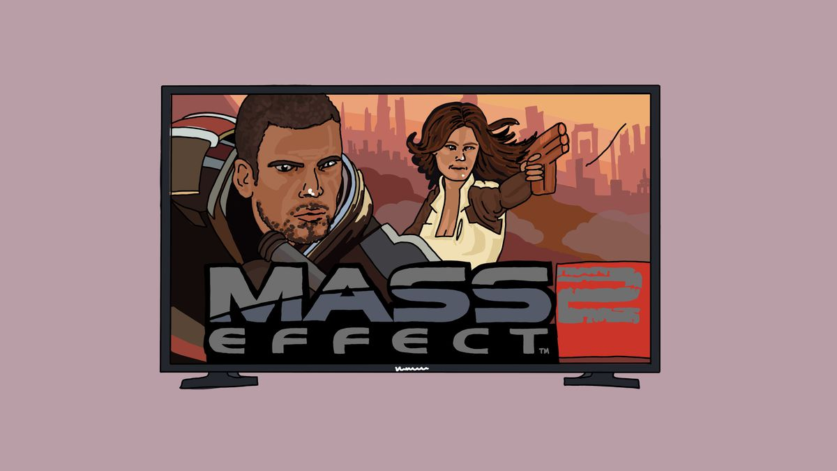 An illustration of a television screen with the video game Mass Effect 2 playing on it.