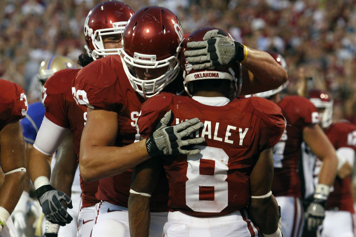 NORMAN, OK - SEPTEMBER 3: Dominique Whaley's four touchdown performance was one of the most surprising in the Big 12. (Photo by Brett Deering/Getty Images)