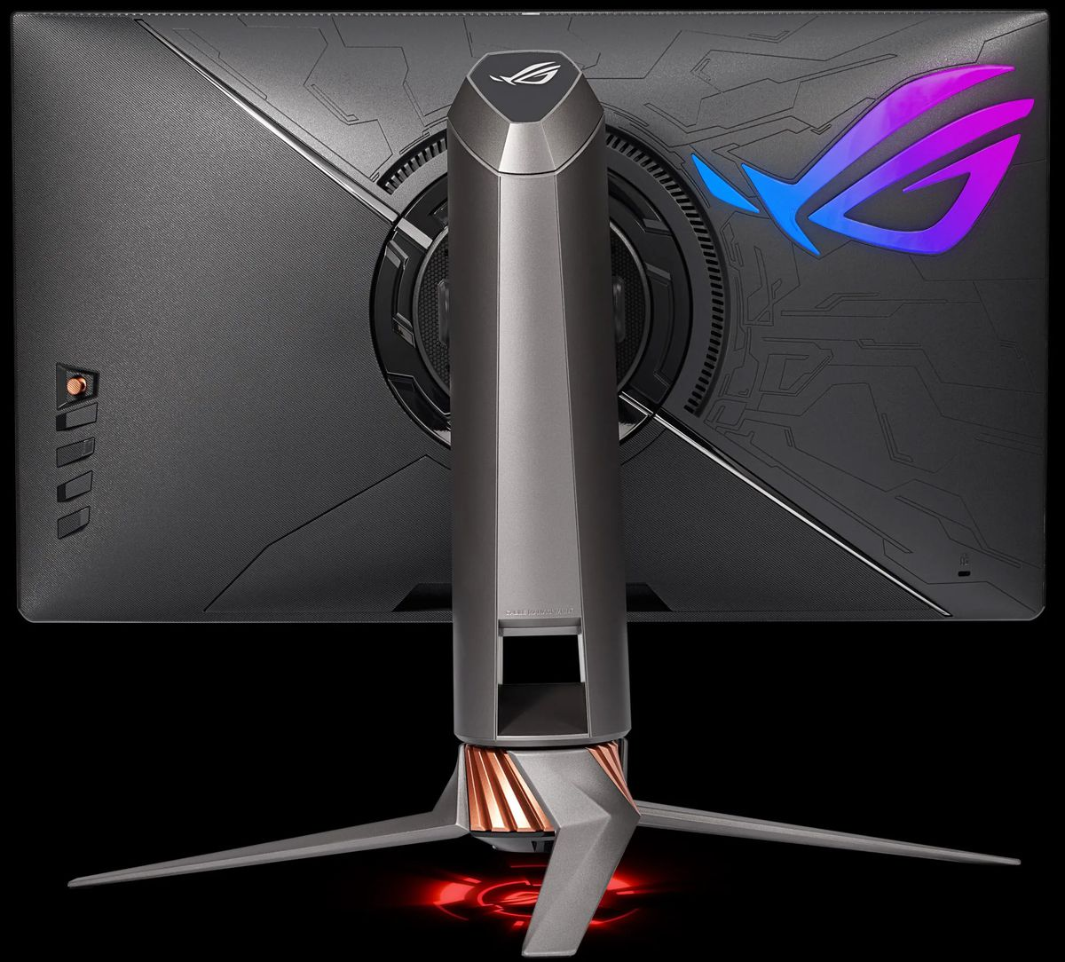 the back of the Asus ROG Swift 360Hz gaming monitor