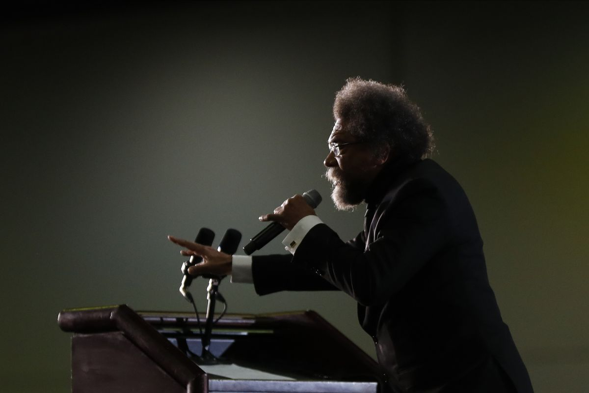 Political activist Cornel West speaks at a campaign rally for Democratic presidential candidate Sen. Bernie Sanders.