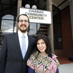 Rabbi Avremi Zippel and his wife, Sheina, pose for a portrait at Chabad Lubavitch of Utah in Salt Lake City Tuesday, March 24, 2015.